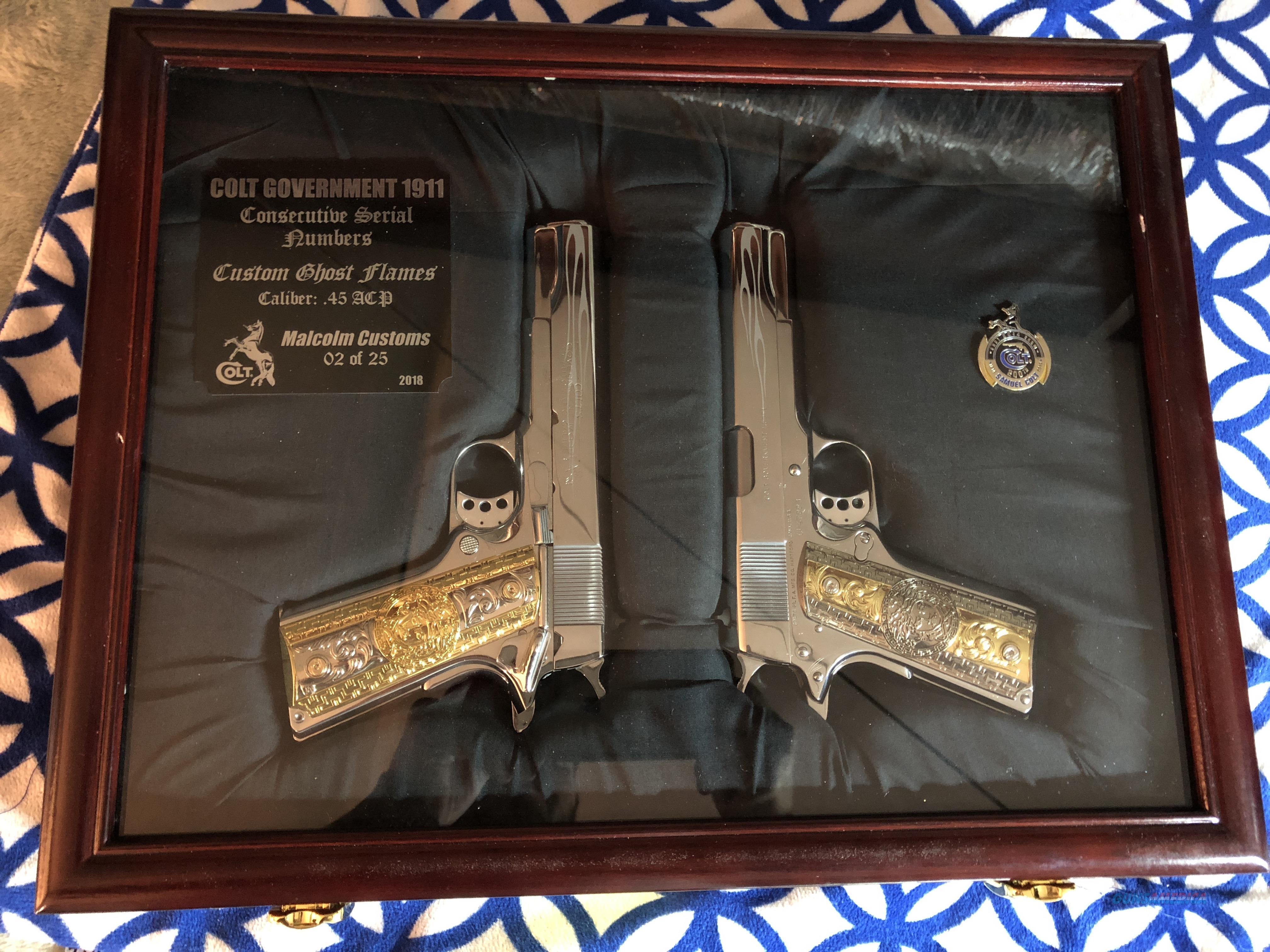 Custom Colt 1911 Set Consecutive Serial Number Ghost Flames Display Case Boxes  Guns > Pistols > Colt Automatic Pistols (1911 & Var)
