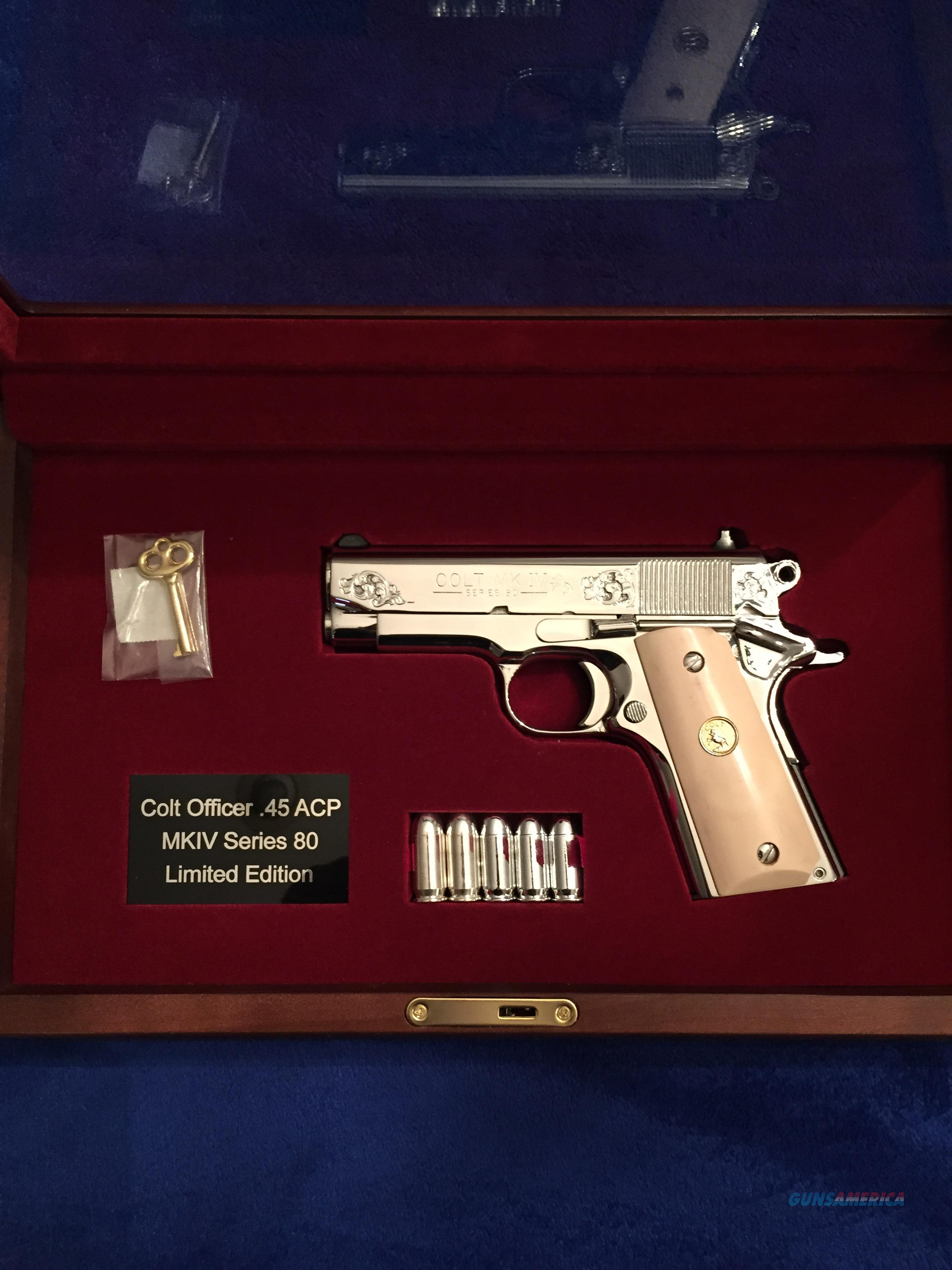 Colt Officers ENGRAVED BSTS bright stainless presentation box NICE MKIV  Guns > Pistols > Colt Automatic Pistols (1911 & Var)
