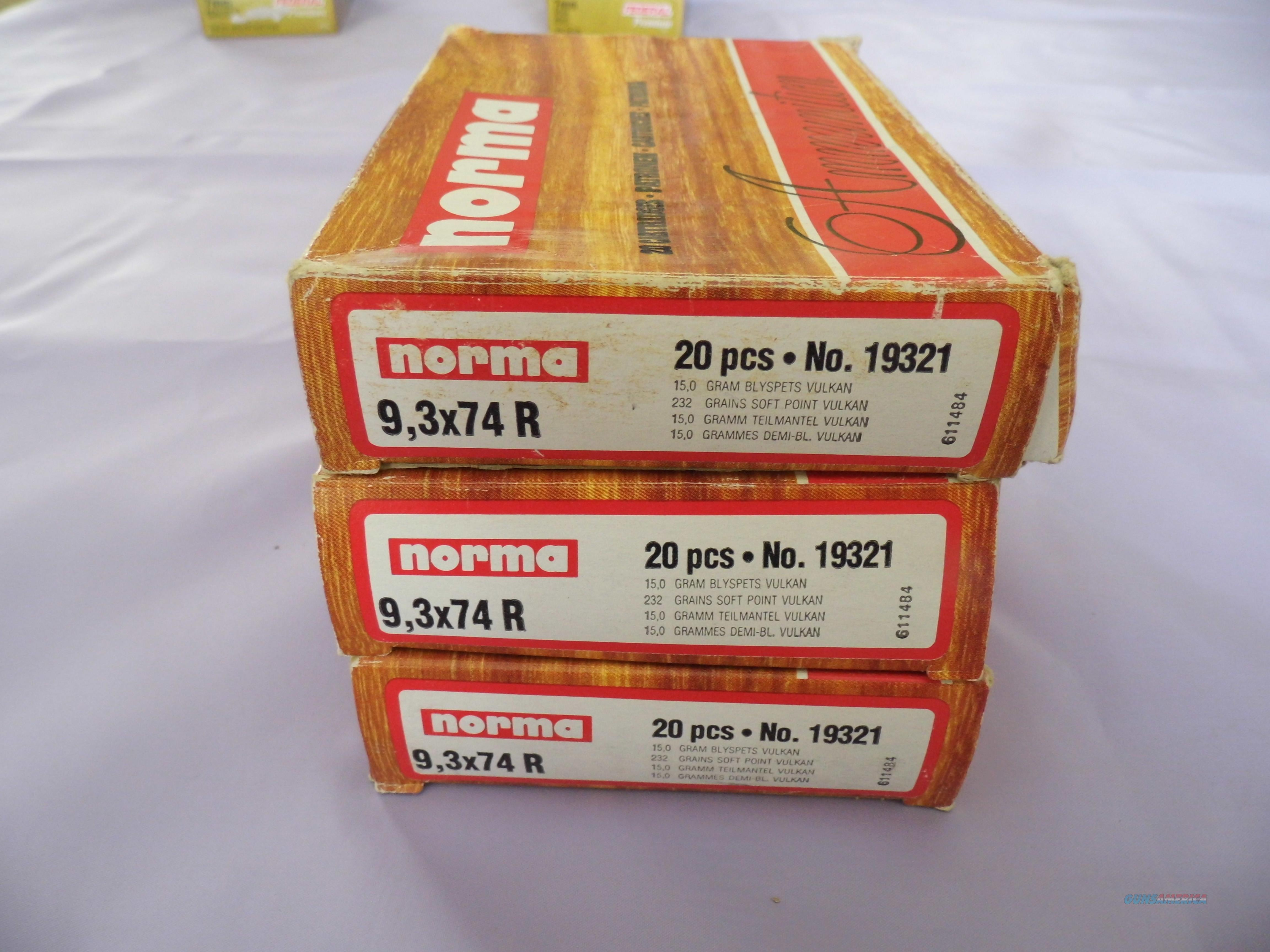 9,3 X 74 R, Norma, 3 full boxes & 8 rounds, 68 rounds total with 30 rounds of spent Cartridges for reloading.  Non-Guns > Ammunition