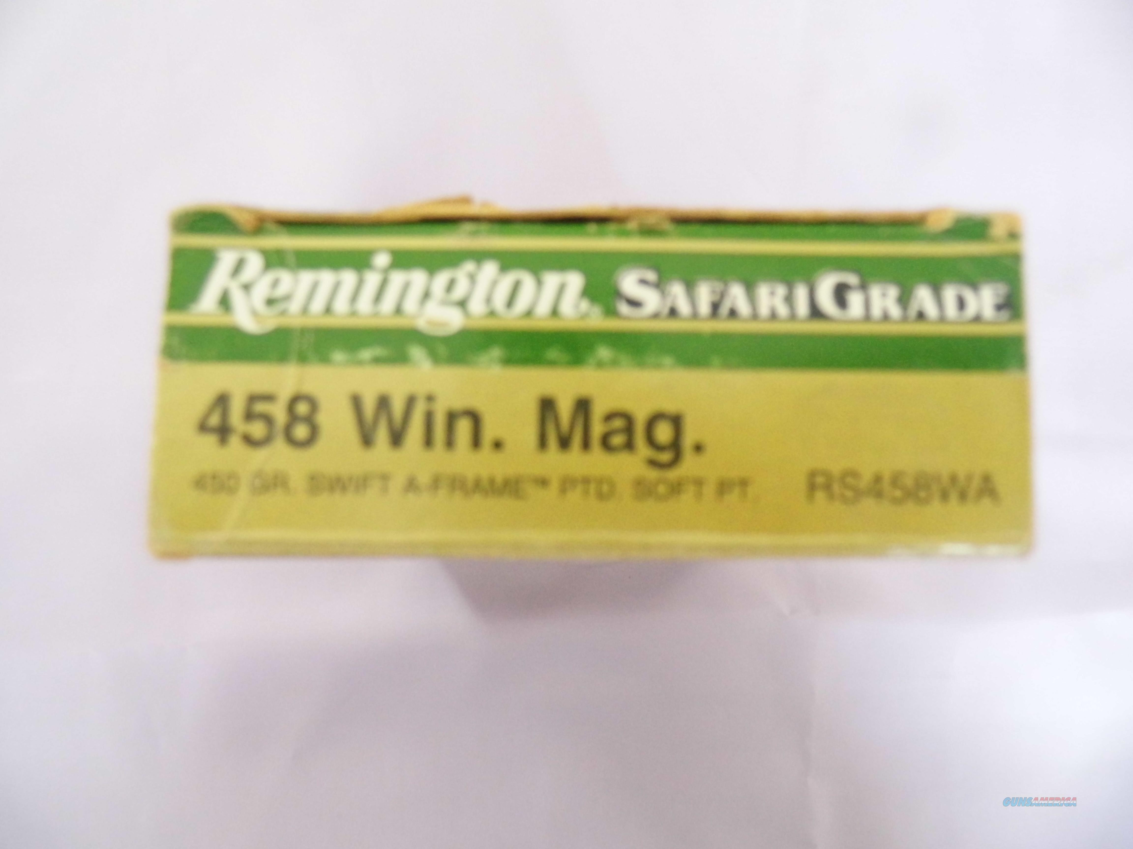458 Remington Safari Grade 458 Win. Mag. One box of 20 rounds, 450 GR. Swift A-Frame  PTD Soft Pt.  Non-Guns > Ammunition