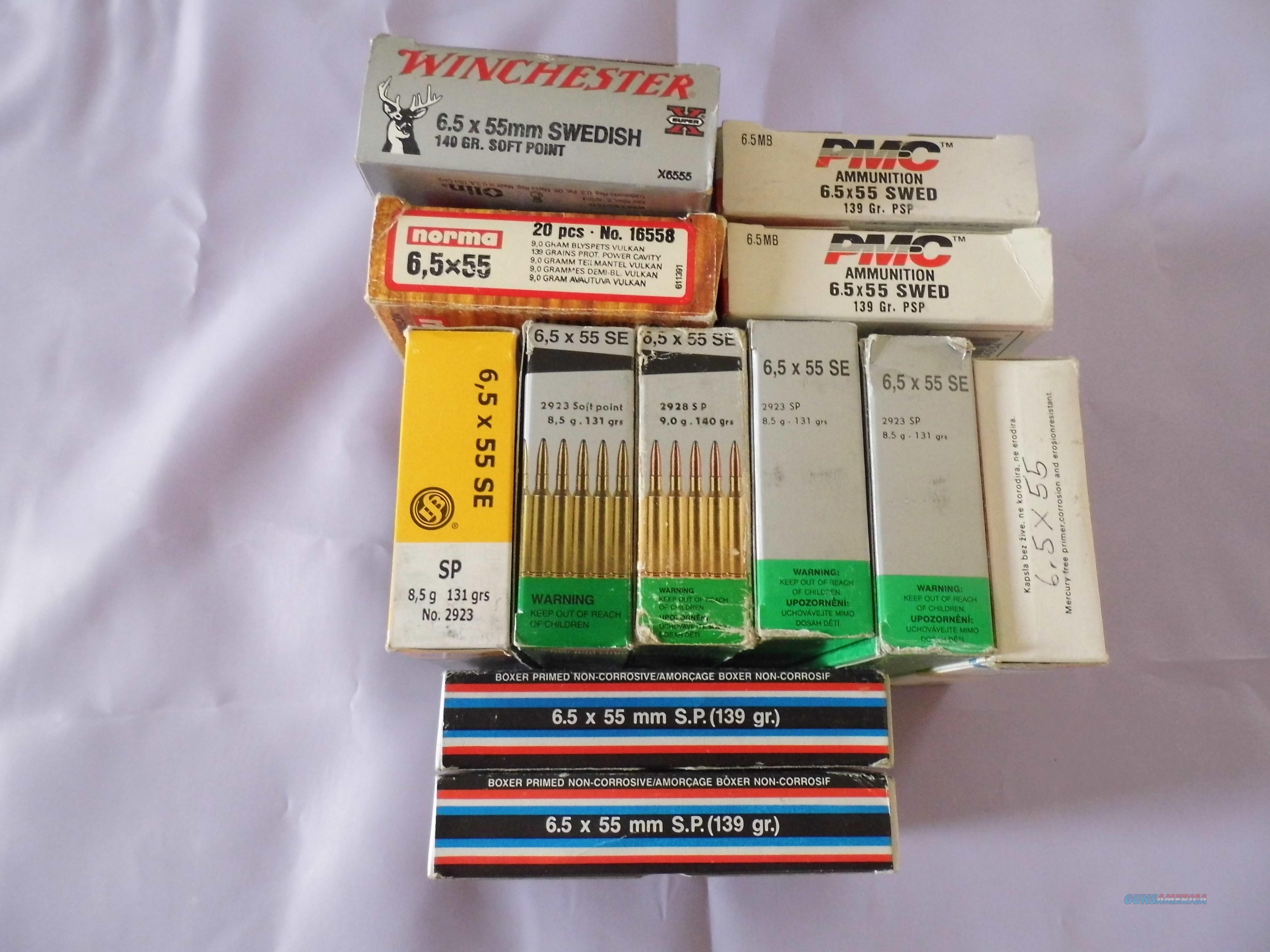 6,5 X 55 SE, 12 boxes of mixed brands.  Non-Guns > Ammunition