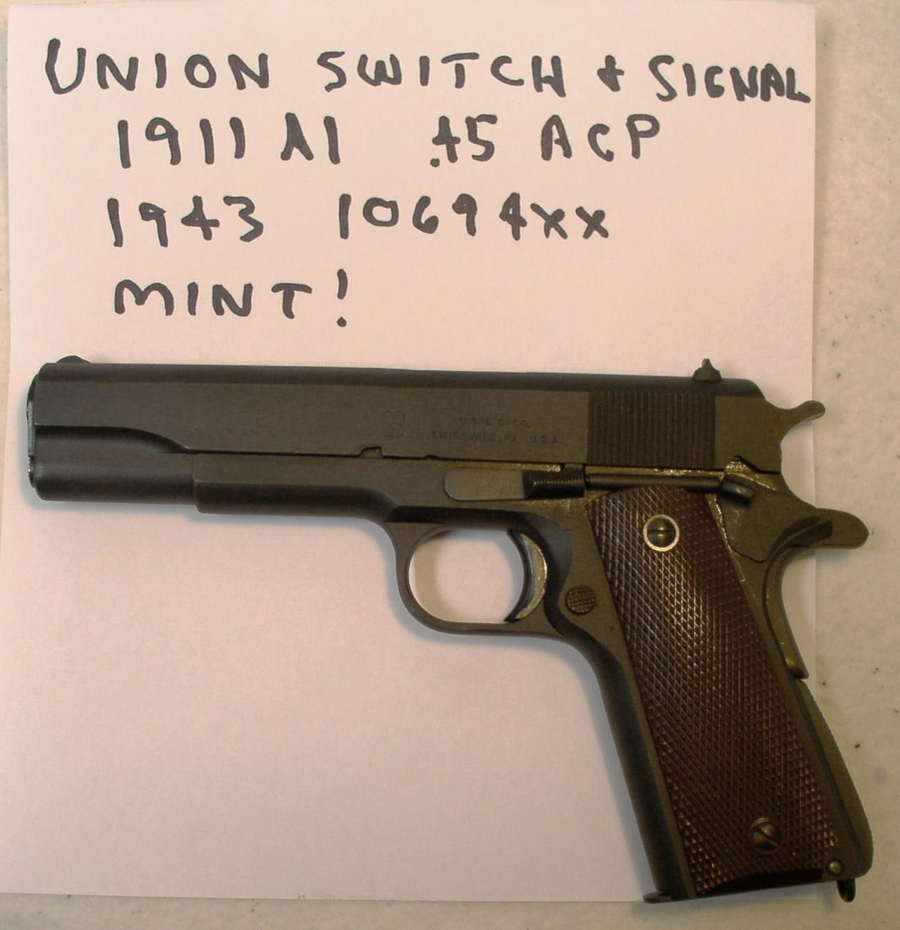 Colt Union Switch And Signal 45acp Cal Pistol For Sale