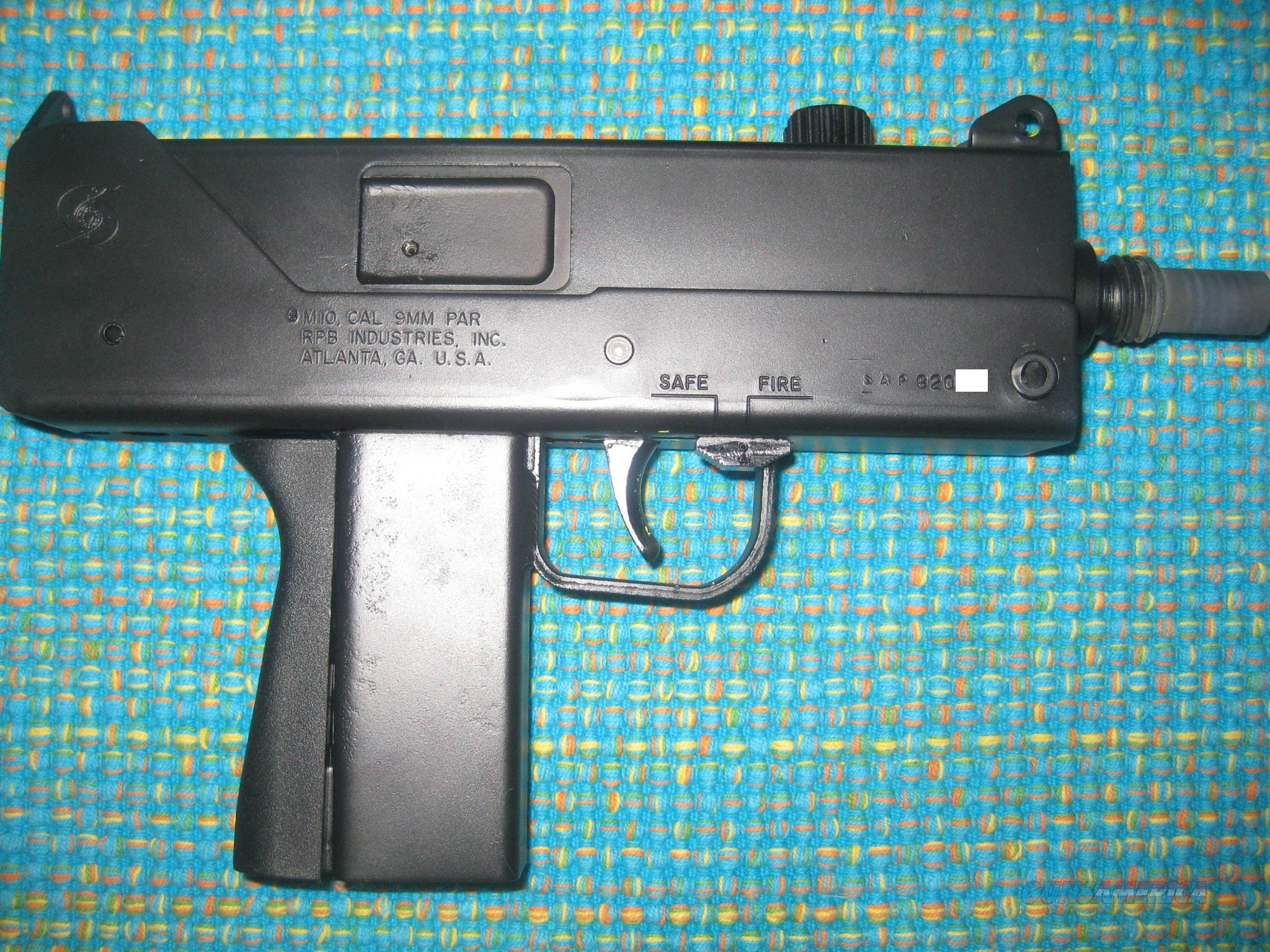 RPB M-10 Open Bolt 9MM, Barrel Extension and 3 mags (MAC 10)  Guns > Pistols > Cobray Pistols