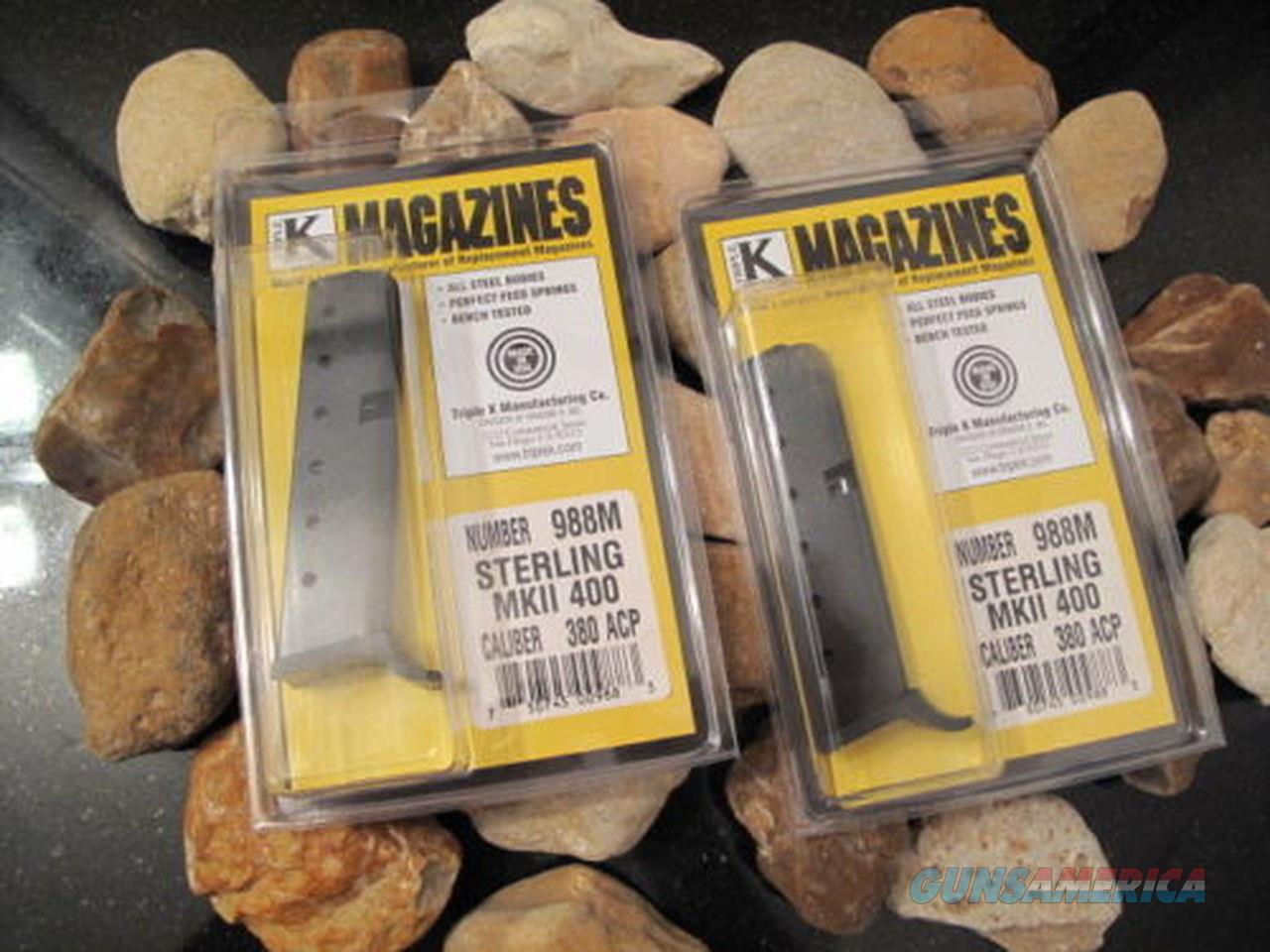2 Pack Fits STERLING ARMS 400 MK2 8 ROUND 380 Mag Magazine MARK 2 Made USA!  Non-Guns > Ammunition