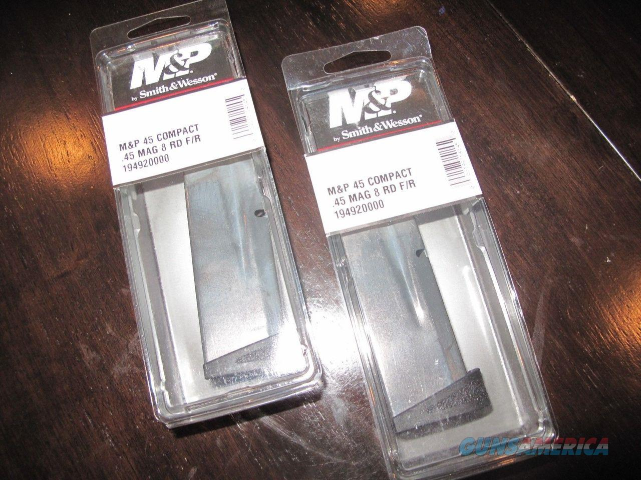 2 Pack COMPACT Smith and Wesson M&P .45 S&W 8 Round .45 Magazine Mag Magazines  Non-Guns > Ammunition
