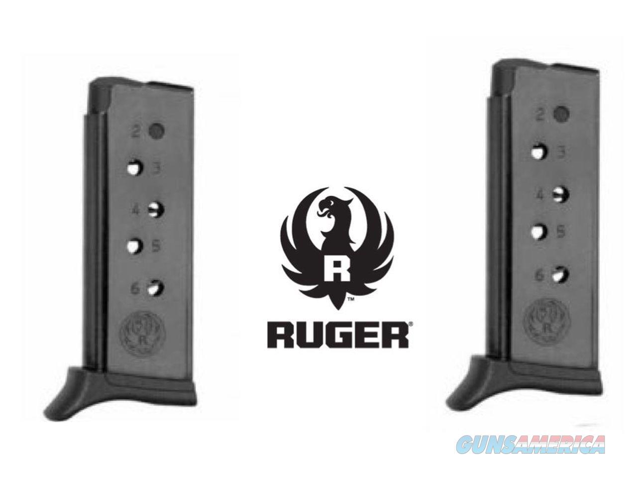 2 Pack Ruger Brand LCP 380 .380 6 Rd Magazine Mag Magazines Pinkie Rest USA MADE !!  Non-Guns > Ammunition