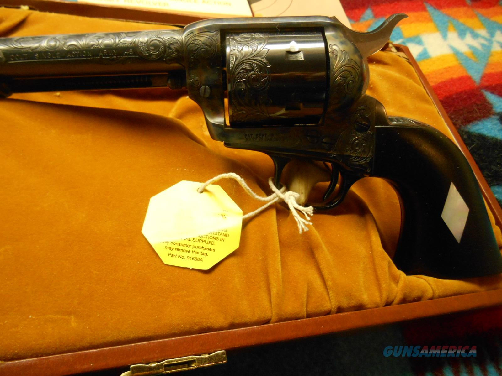 "COLT SAA .45Cal. 7.5""Barrel - CASE BLUE / FACTORY ENGRAVED - NEW  Guns > Pistols > Colt Single Action Revolvers - 3rd Gen."