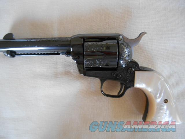"COLT SAA .45ACP - BLUE - 4 3/4""BARREL with MOTHER-OF-PEARL GRIPS - ENGRAVED  Guns > Pistols > Colt Double Action Revolvers- Modern"
