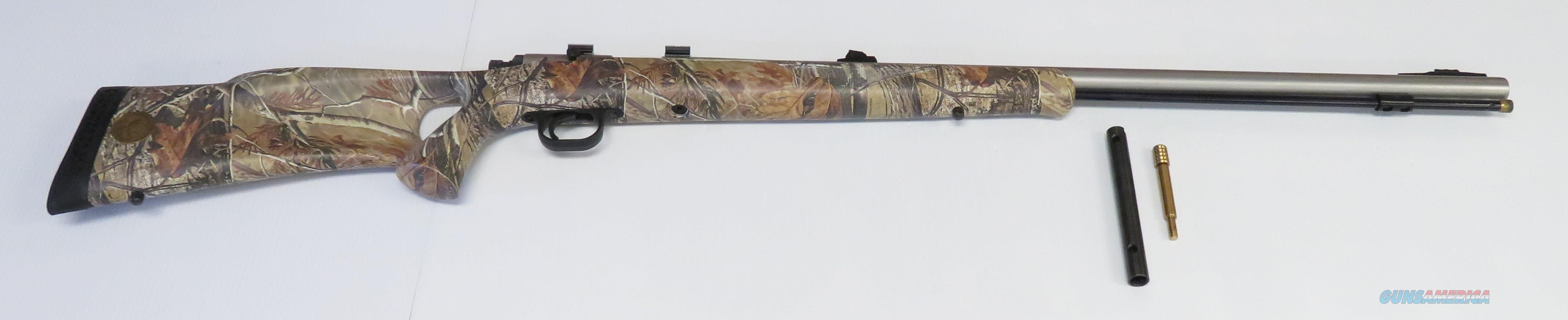 Knight Bighorn 50 Caliber Muzzleloader Thumbhole Woodland Camouflage Stock Scope Mounts  Guns > Rifles > Knight Rifles