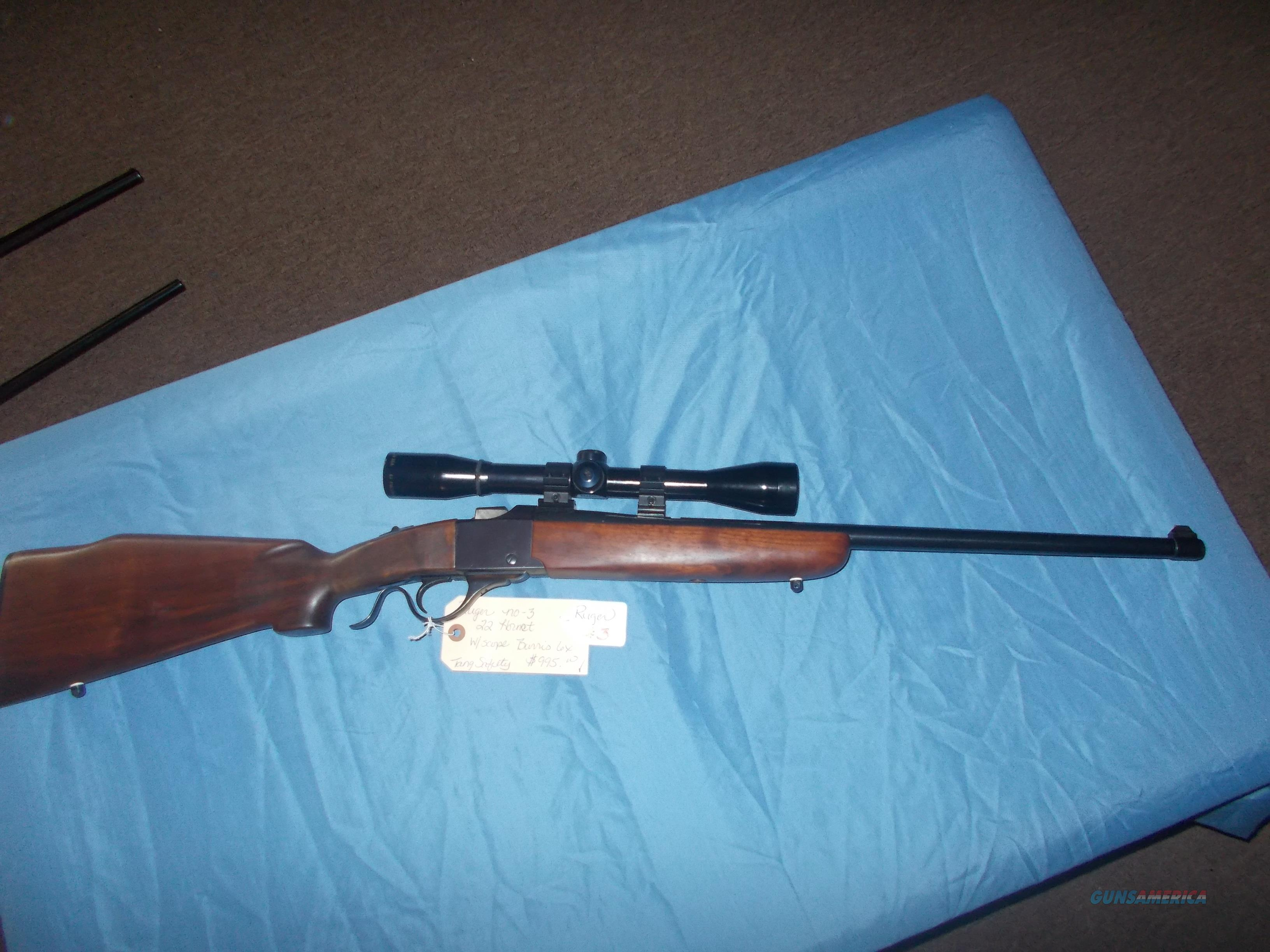 Ruger no-3 22 Hornet w/ Burris Scope  Guns > Rifles > Ruger Rifles > Lever Action