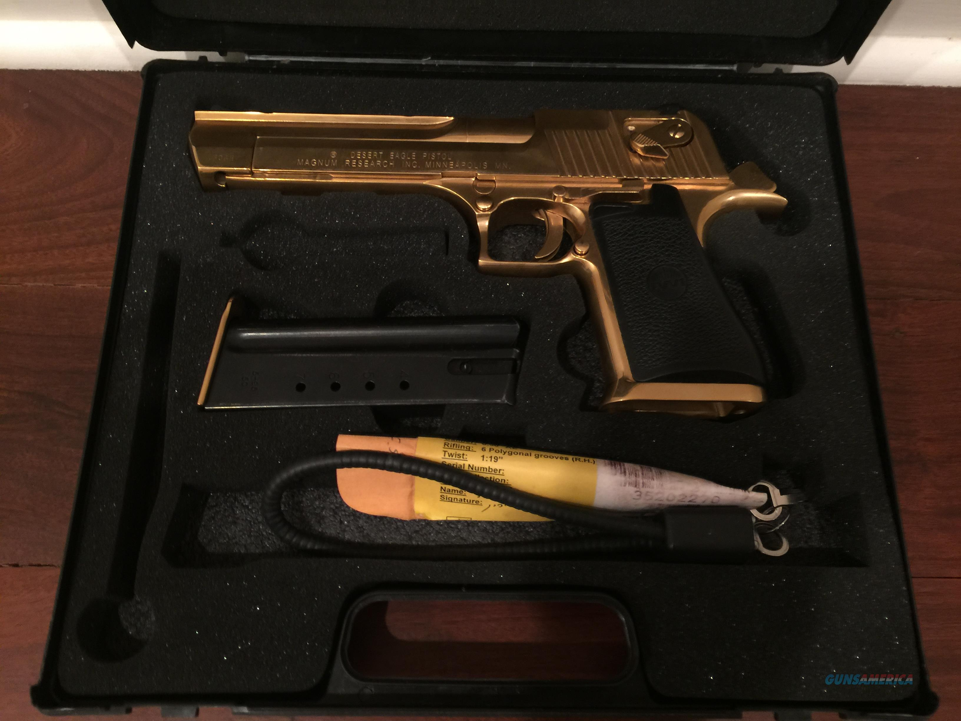 Magnum Research Desert Eagle, high polished 24K gold plated, 50 caliber AE, all papers-awesome showpiece!  Guns > Pistols > Desert Eagle/IMI Pistols > Desert Eagle