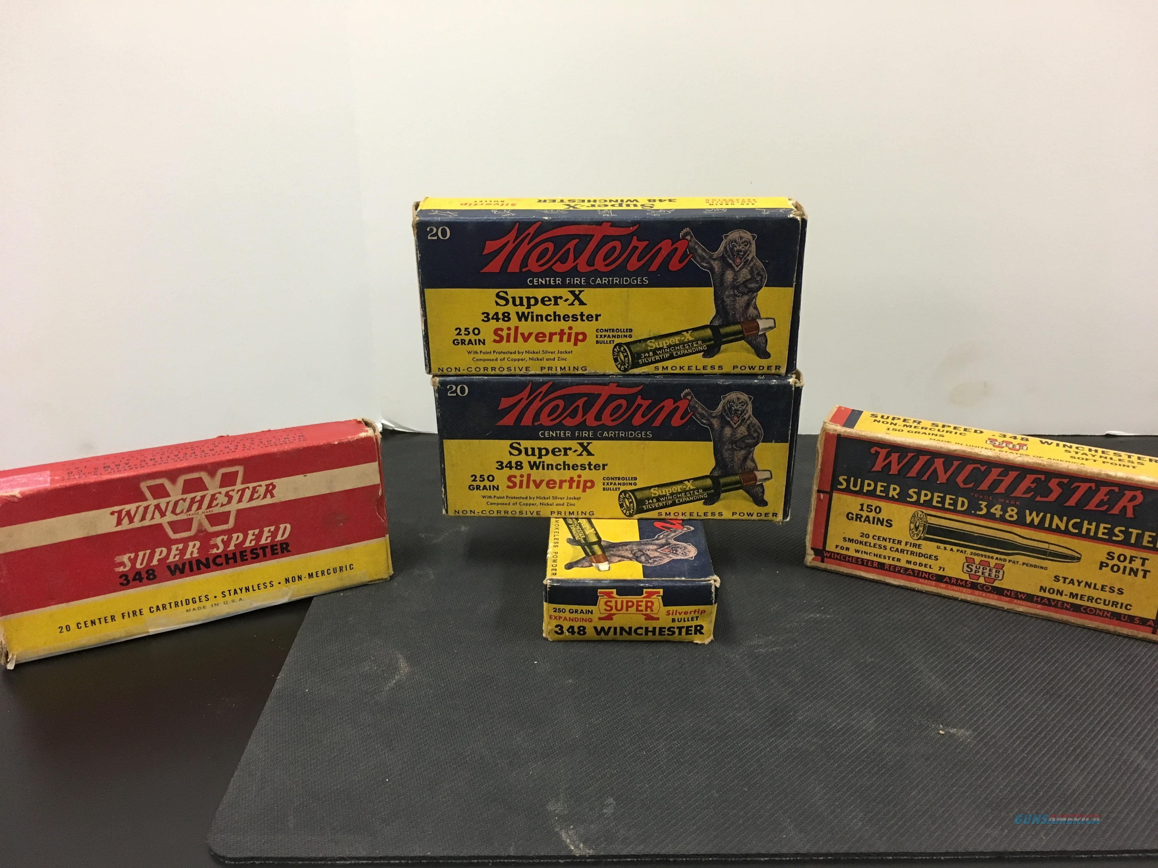 Rare Antique Winchester .348 Ammo With Display Boxes  Non-Guns > Ammunition