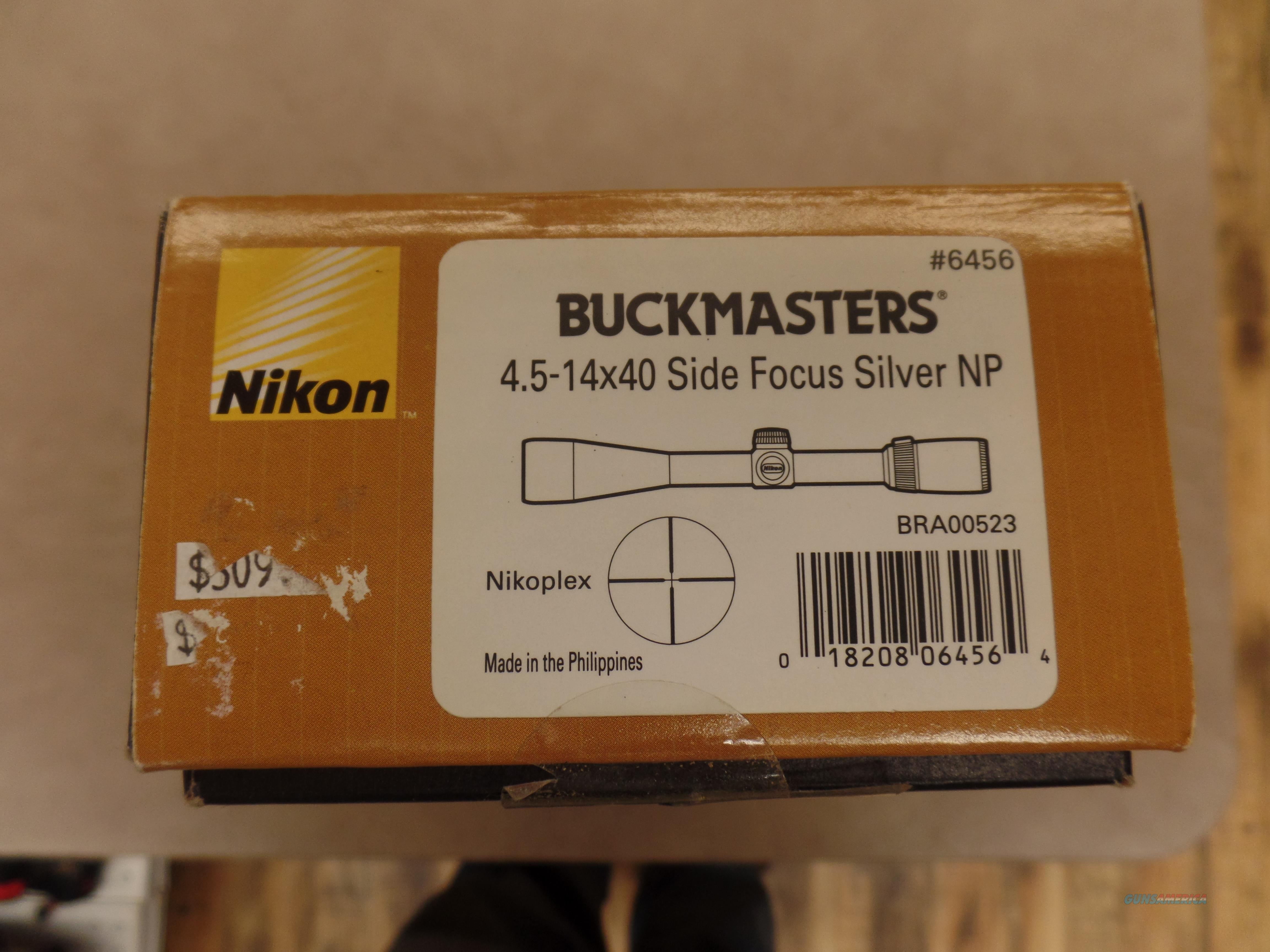 Nikon BUCKMASTER 4.5-14X40 Side Focus Silver NP  Non-Guns > Scopes/Mounts/Rings & Optics > Rifle Scopes > Variable Focal Length