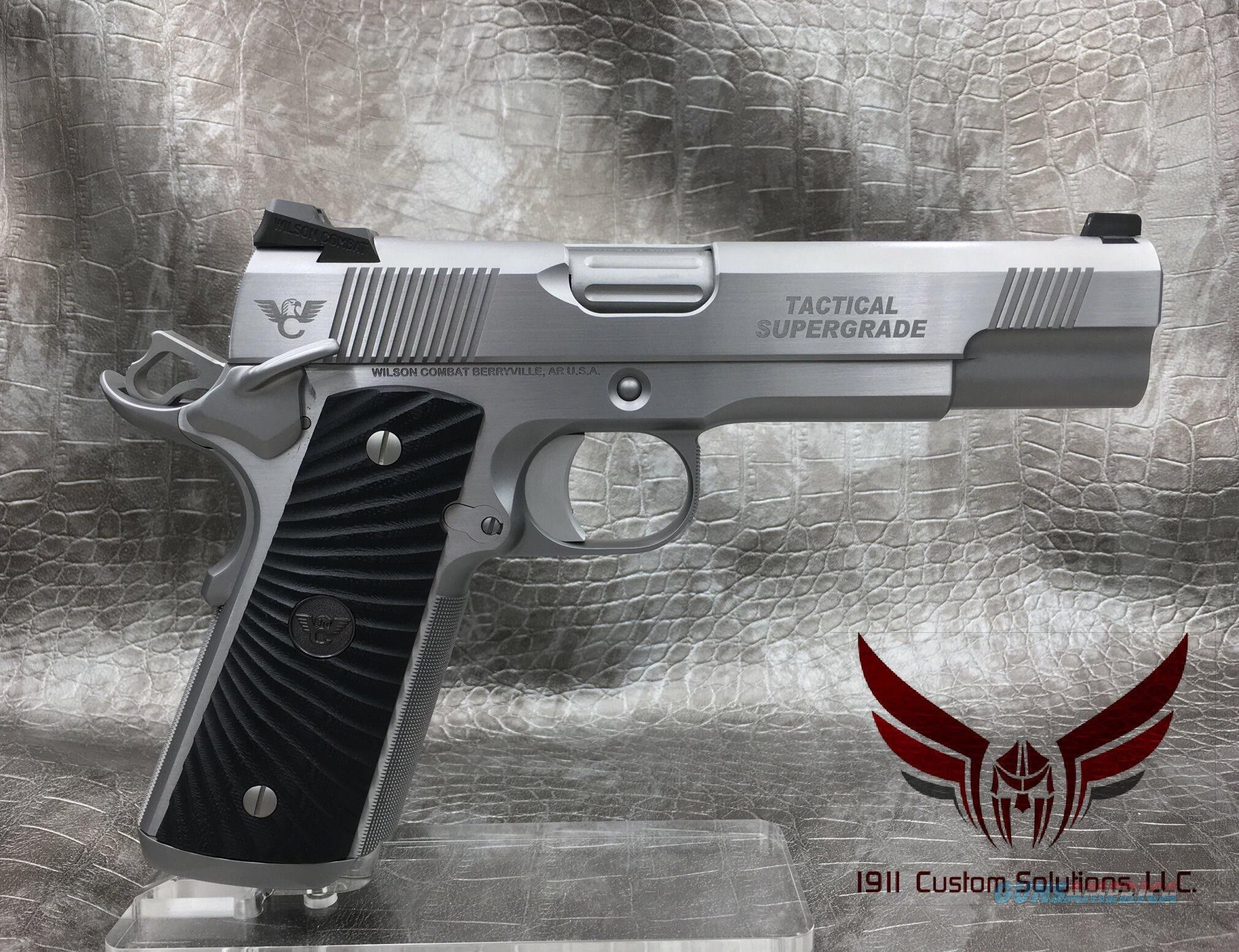 Wilson Combat Tactical Supergrade- All Stainless Steel with Matte Bead Blast & Polished Sides   Guns > Pistols > Wilson Combat Pistols