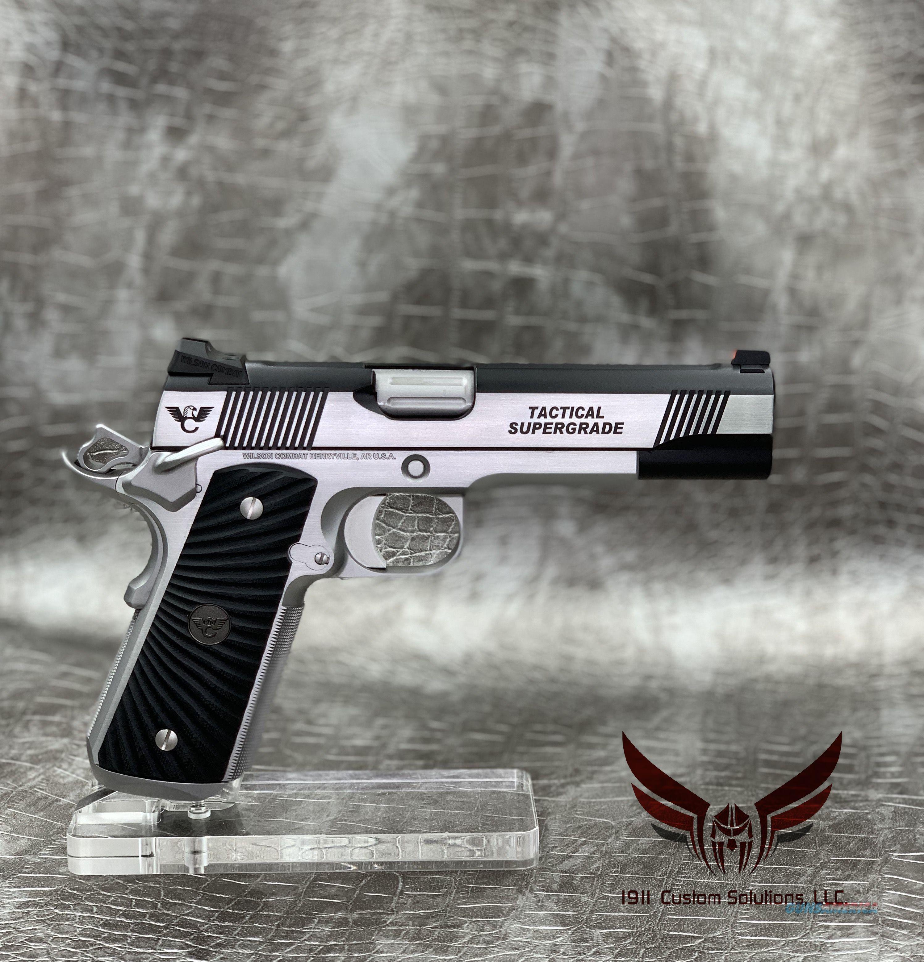 "Wilson Combat Tactical Supergrade 5"" 9MM - STAINLESS STEEL & BLACK ARMOR TUFF  Guns > Pistols > Wilson Combat Pistols"