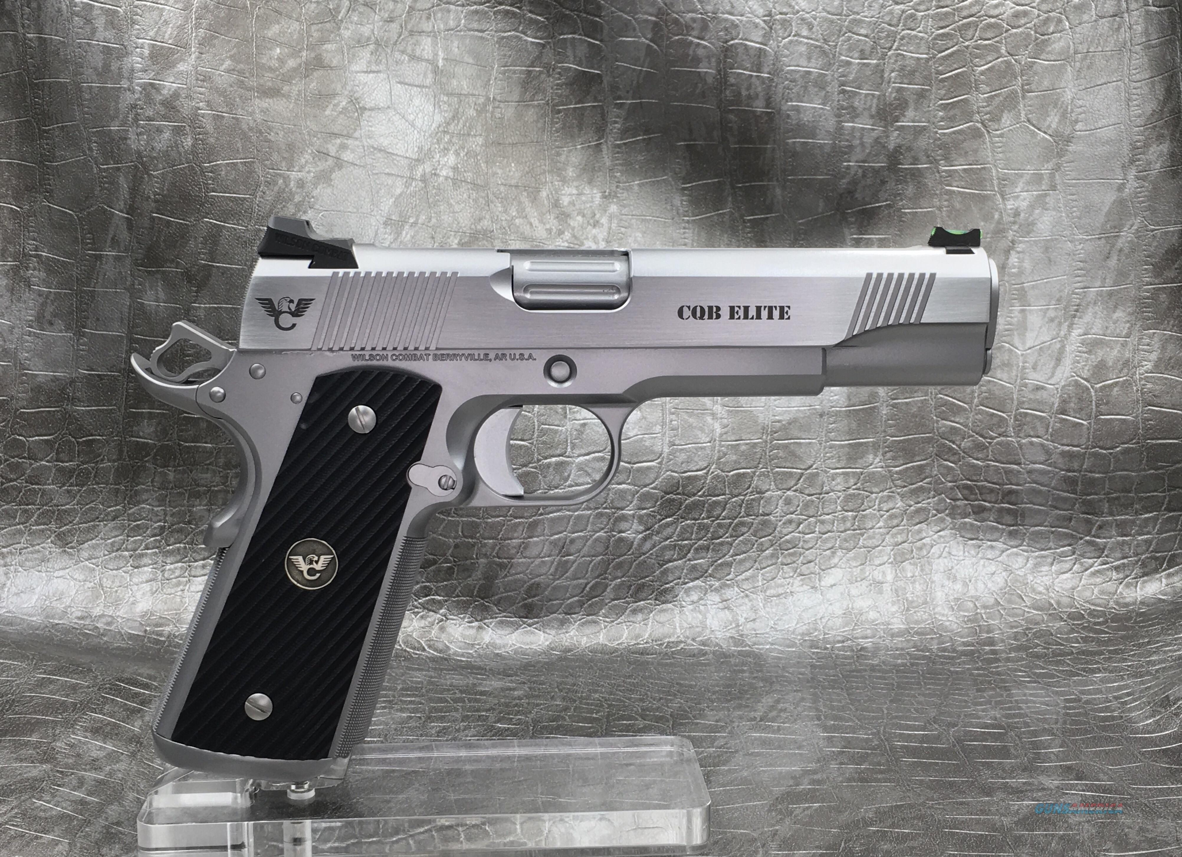 """Wilson Combat CQB Elite 5"""" 9MM - Stainless Steel with Matte Bead Blast and Polished Sides  Guns > Pistols > Wilson Combat Pistols"""