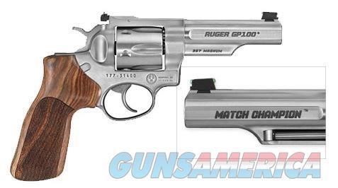 RUGER GP100 MATCH CHAMP 357MAG SS AS 1755 |HVY HALF LUG BBL/WD GRIP  Guns > Pistols > Ruger Double Action Revolver > GP100