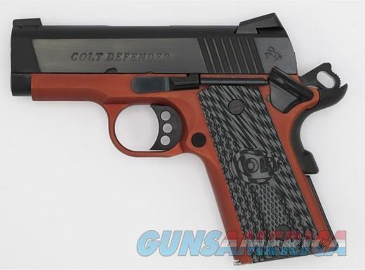 "COLT DEFENDER 45ACP BL/RED 3"" 7+1 * ANODIZED RED FRAME  Guns > Pistols > Colt Automatic Pistols (1911 & Var)"