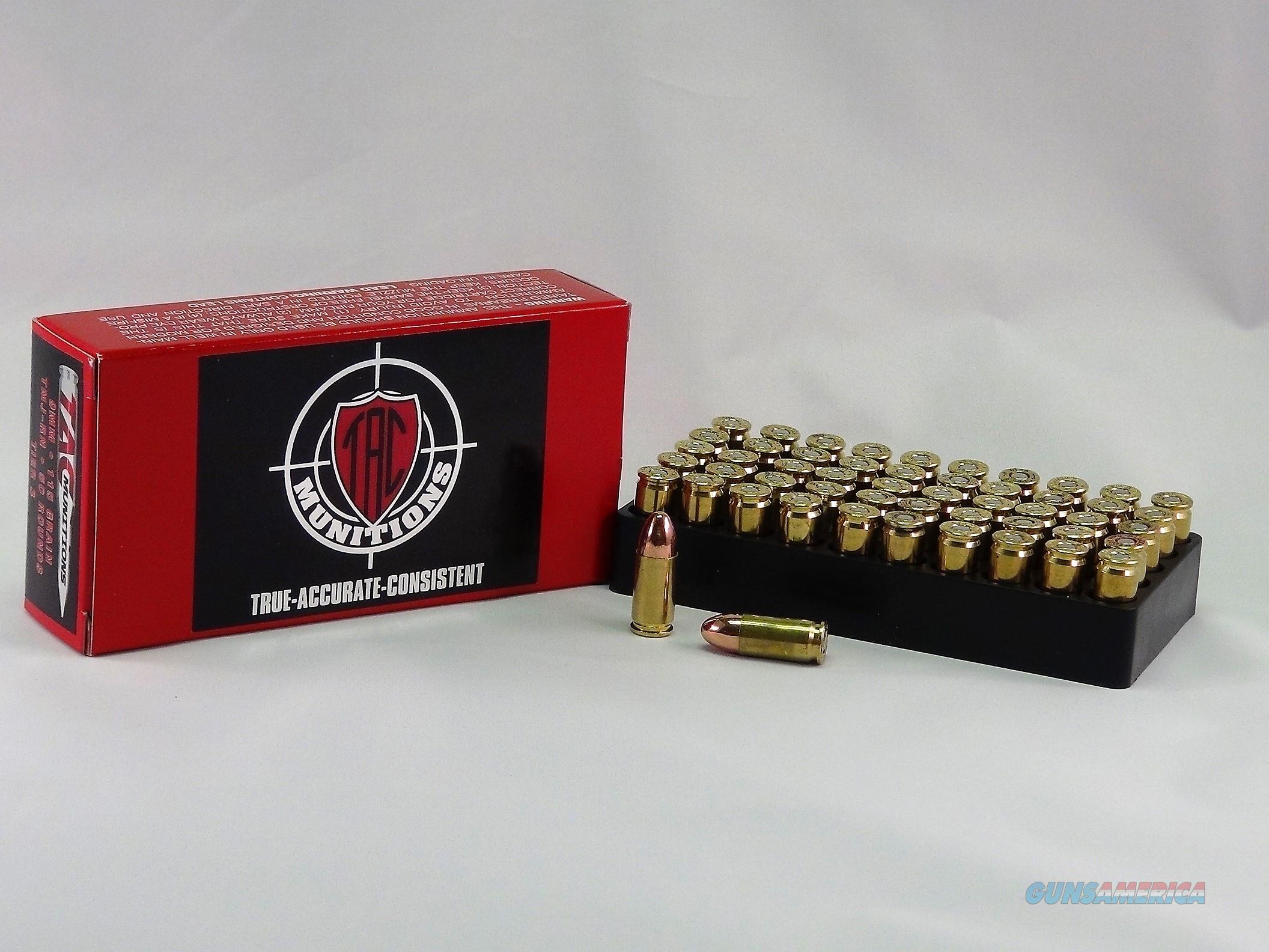 TAC Ammo 9mm 115 Grain TMJ- RN - 50 Round  Non-Guns > Ammunition