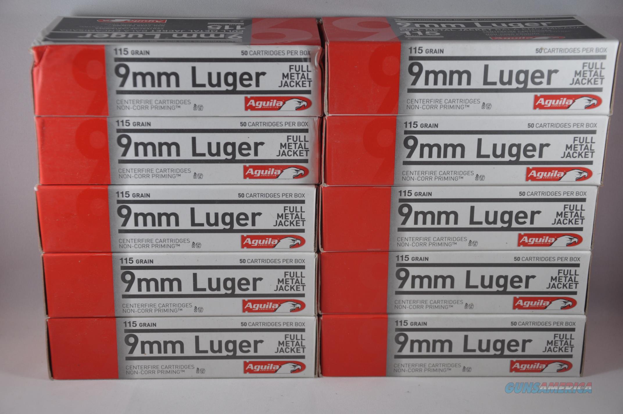 500RDS AGUILA 9MM 115GR FMJ AMMO NoCCFee 1E097704  Non-Guns > Ammunition