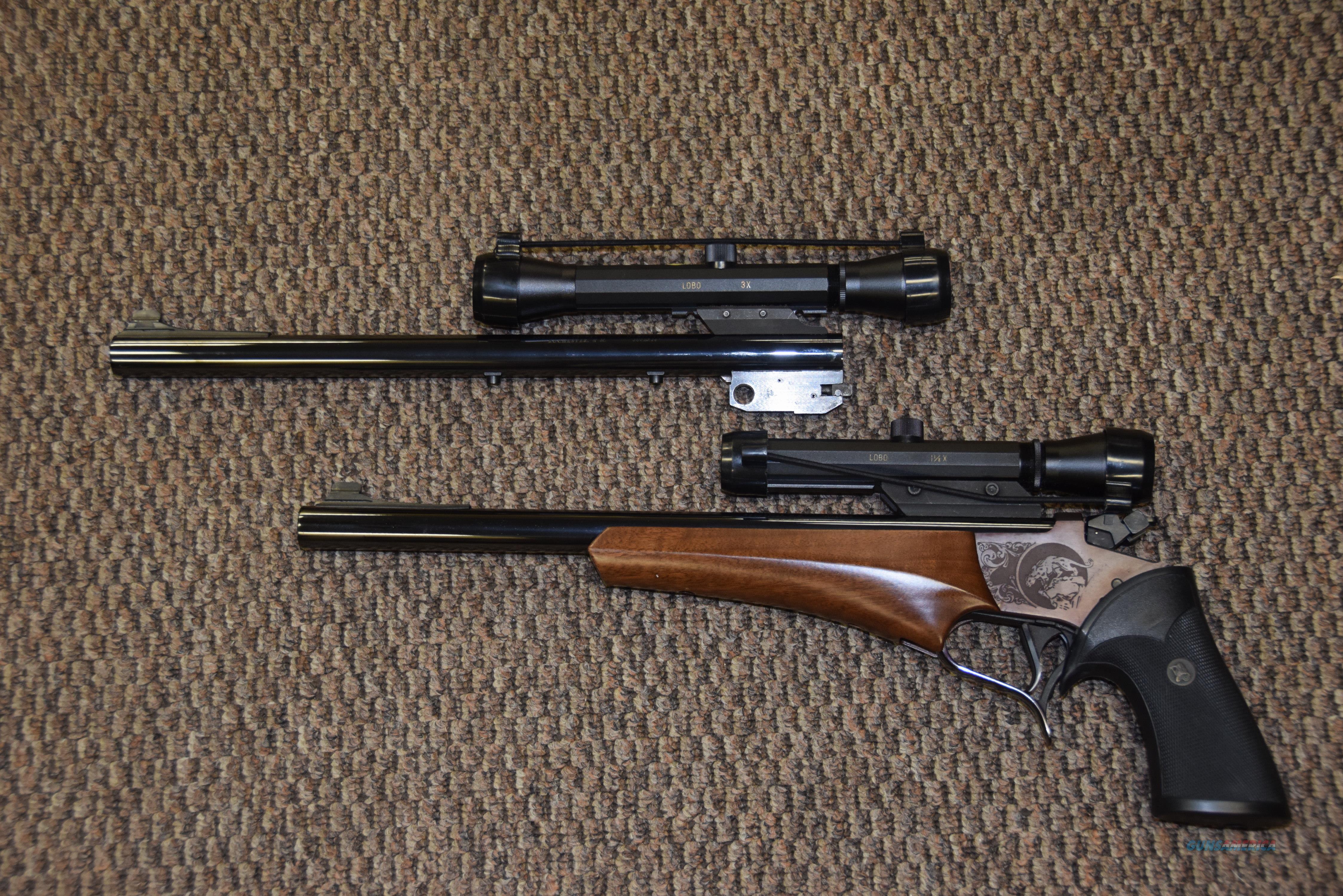 THOMPSON CENTER CONTENDER WITH 2 BARRELS/SCOPES: 35 REM AND .357 HERRETT  Guns > Pistols > Thompson Center Pistols > Contender