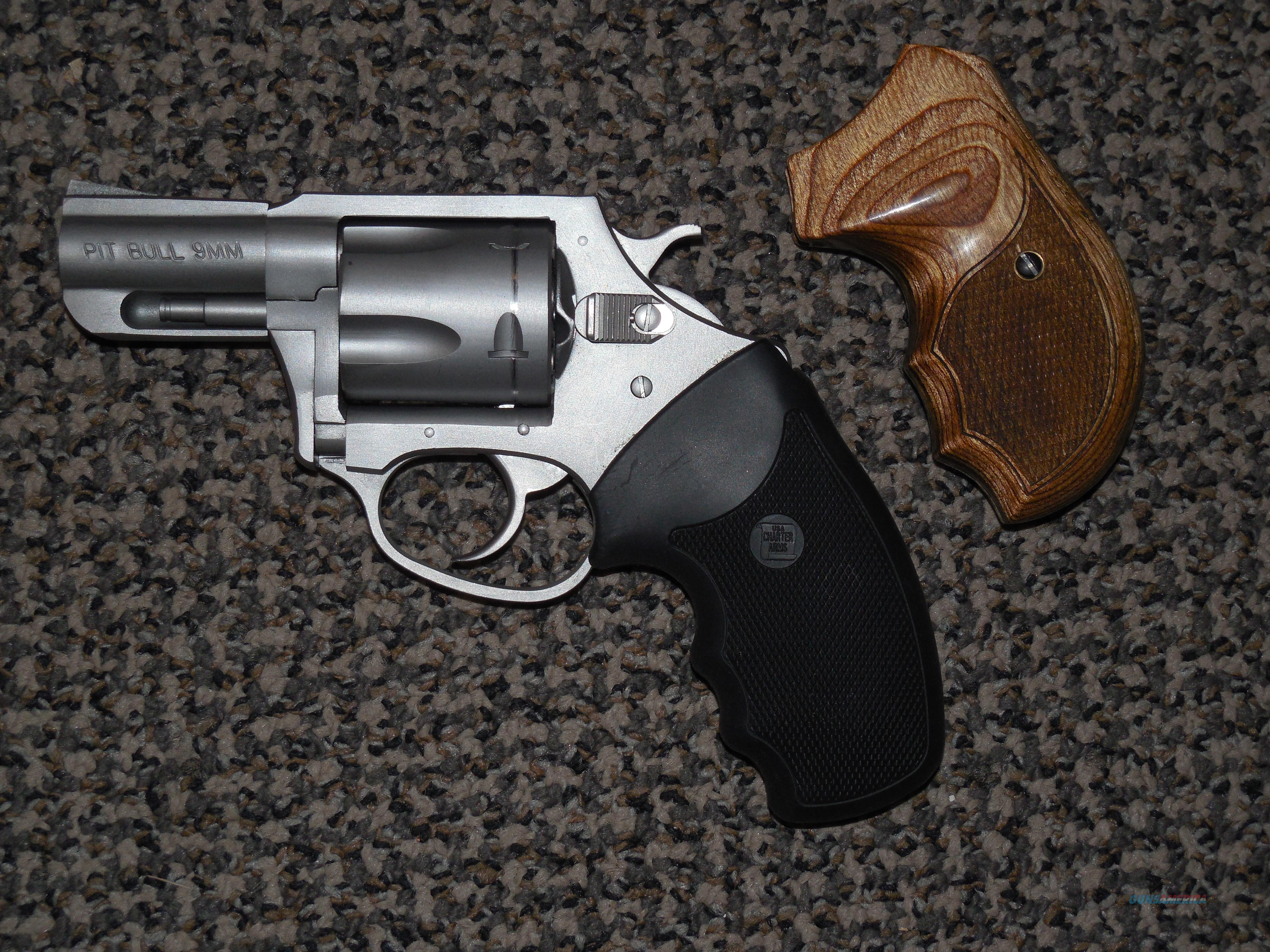 CHARTER ARMS PITBULL 9 MM STAINLESS REVOLVER WITH EXTRA GRIP  Guns > Pistols > Charter Arms Revolvers