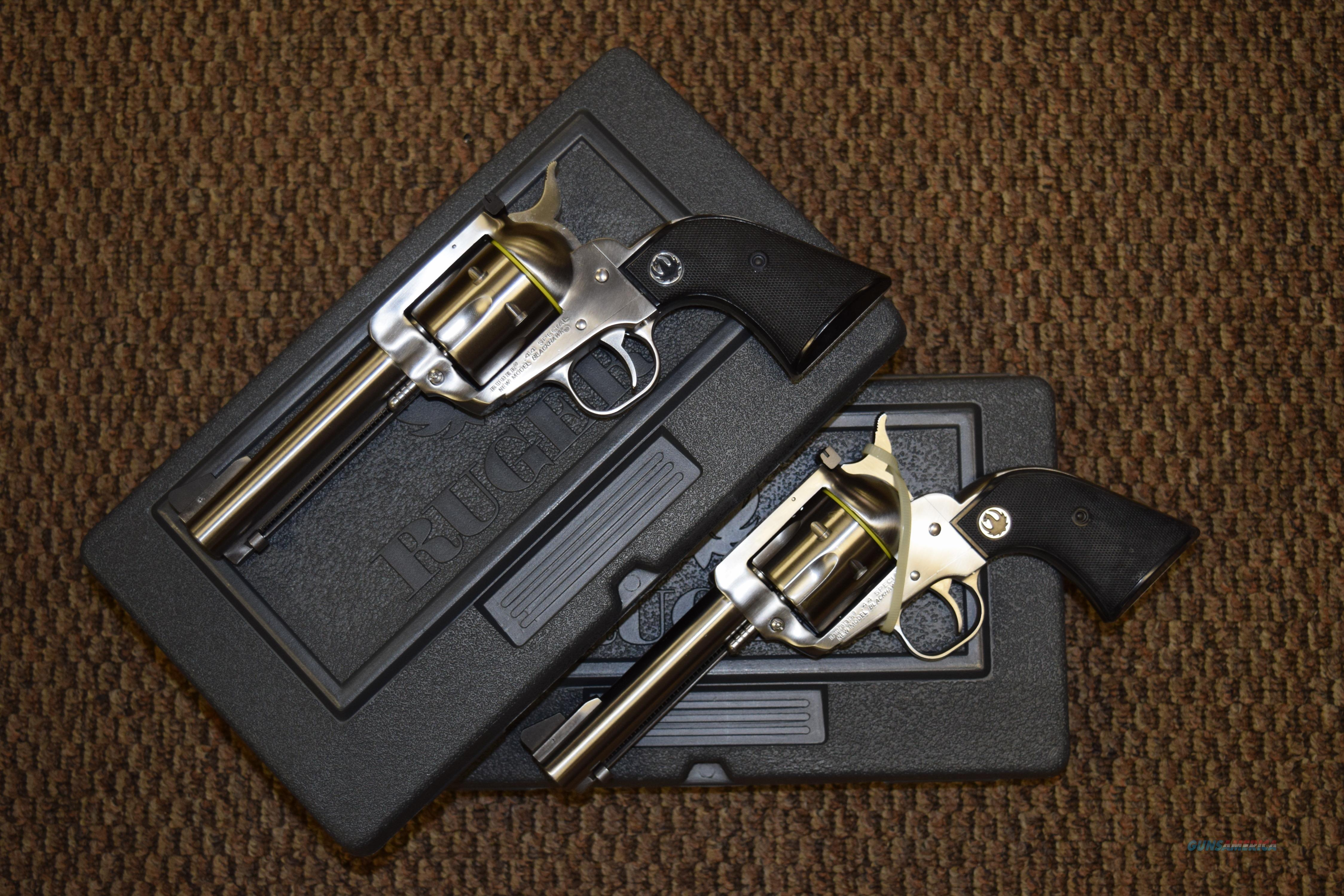 RARE RUGER COLLECTABLE PAIR OF STAINLESS BLACKHAWKS IN .44 SPECIAL CONSECUTIVE SERIAL NUMBERS - 43 & 44 -- REDUCED!!  Guns > Pistols > Ruger Single Action Revolvers > Cowboy Action