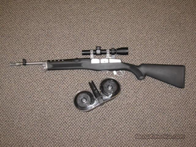 RUGER MINI-14 WITH THREADED BARREL/FLASH-HIDER AND SCOPED  Guns > Rifles > Ruger Rifles > Mini-14 Type