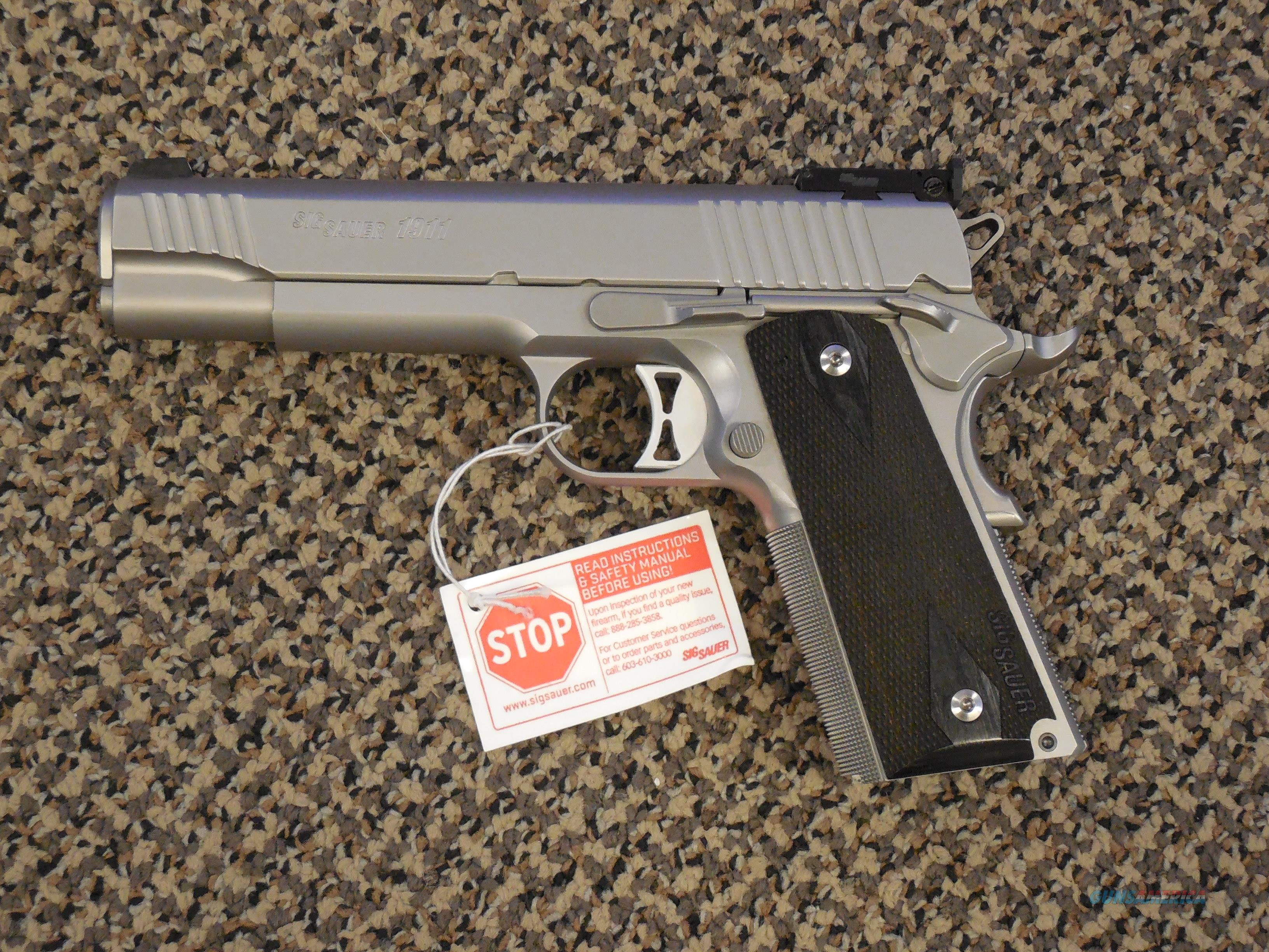 SIG SAUER 1911 ALL STAINLESS 9 MM WITH ADJUSTABLE SIGHTS  Guns > Pistols > Sig - Sauer/Sigarms Pistols > 1911