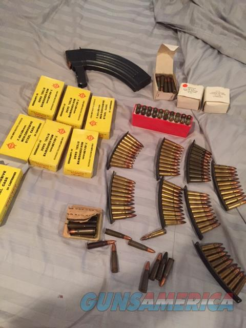 SKS Ammo Ammunition 300 or so Rounds loaders Yellow box Must see!!!  Non-Guns > Ammunition
