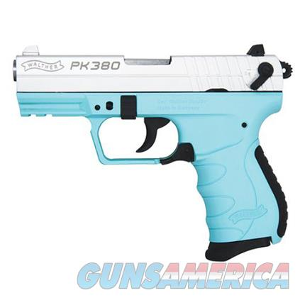 WALTHER PK380 - robin's egg blue & NICKEL BEAUTY - $5.99 PRIORITY SHIPPING  - EASY SLIDE/ACTION FOR WOMEN & WEAKER HANDS - LADIES FAVORITE   Guns > Pistols > Walther Pistols > Post WWII > PK380