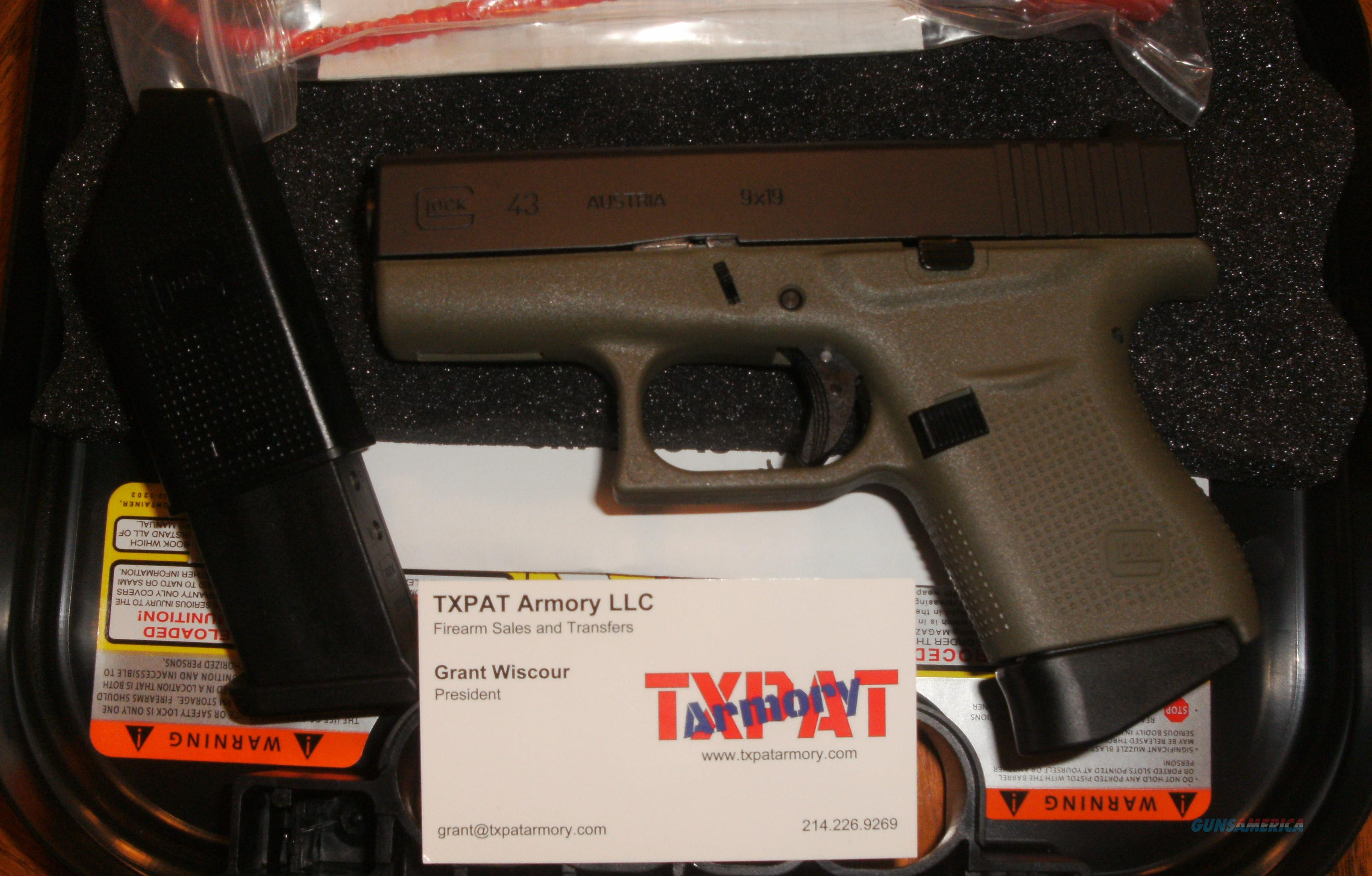 GLOCK 43 - FACTORY GREEN FRAME - 9MM CCW - NEW IN BOX - HURRY THIS ONE'S A BEAUTY  Guns > Pistols > Glock Pistols > 43