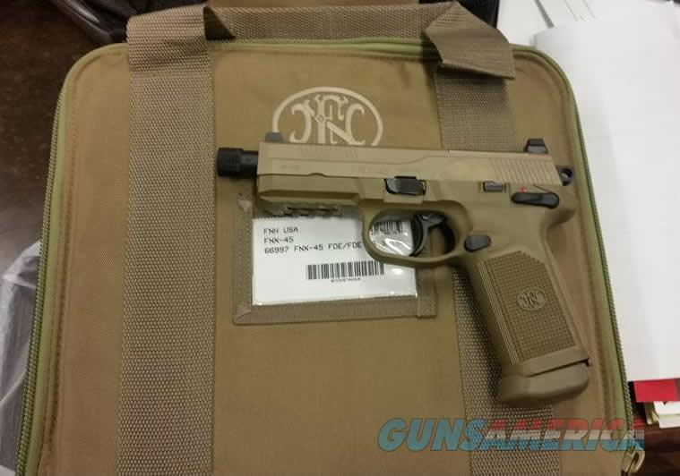 FNX-45 Tactical FDE 45 ACP, THREADED BARREL, 3 MAGS **NEW IN BOX**   Guns > Pistols > FNH - Fabrique Nationale (FN) Pistols > FNX