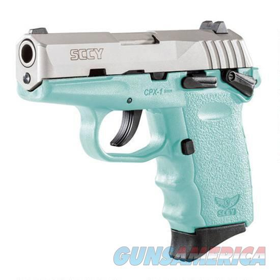 """CPX-1 9mm with Safety 3.10"""" Barre, 10 Rounds, Stainless Steel/Blue  Guns > Pistols > SCCY Pistols > CPX1"""