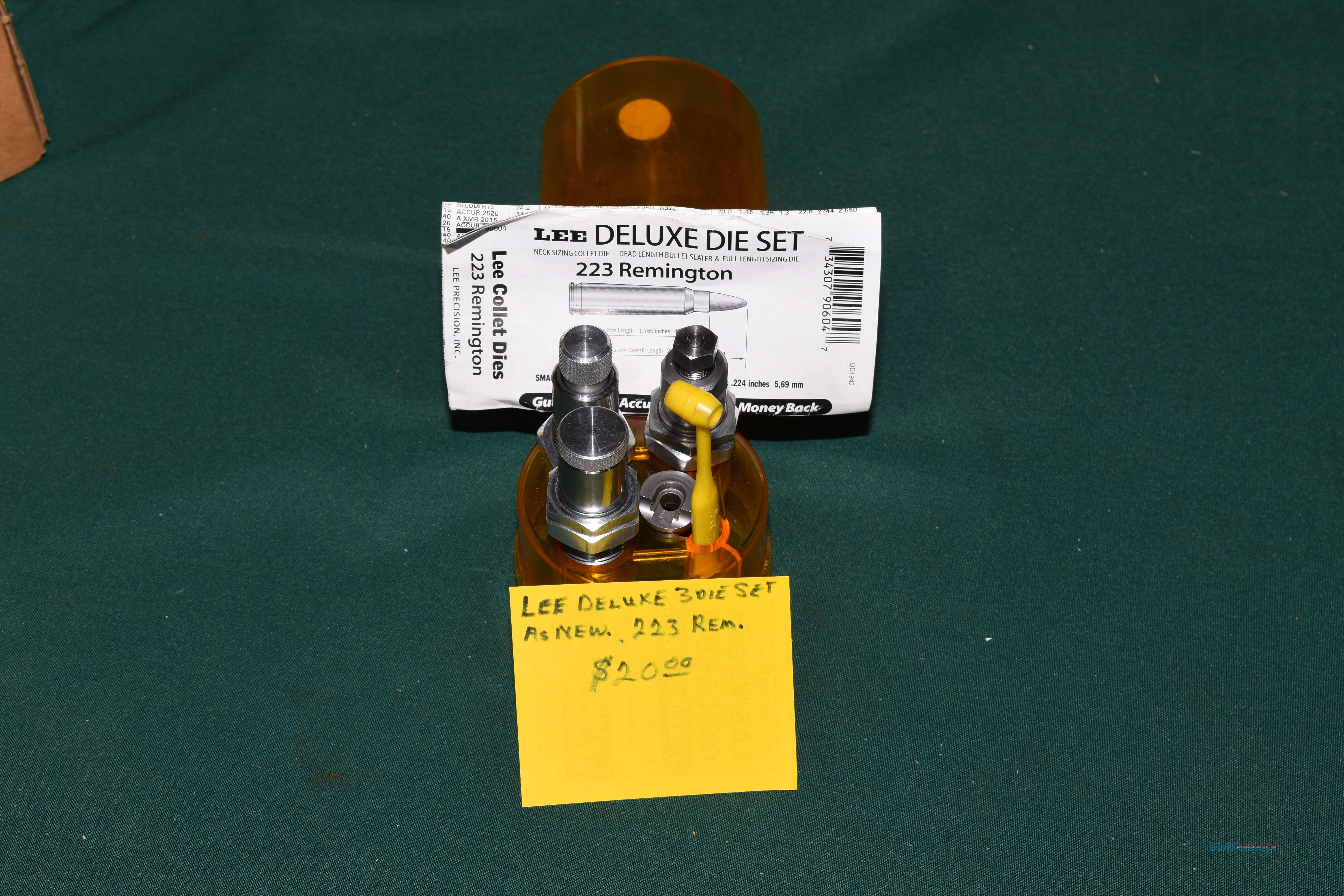Lee Deluxe 3 Die set in 223 Rem. BUYER PAYS  SHIPPING fromzip code 89448  Non-Guns > Reloading > Equipment > Metallic > Dies
