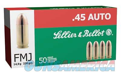 Sellier & Bellot .45ACP 230gr 50 Round Box Brass Ammunition - $9 Flat Shipping Rate ANY Size Order  Non-Guns > Ammunition