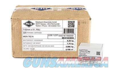 Magtech MEN, 762NATO, 147 Grain, Full Metal Jacket, 320 Round Box MEN762A  Non-Guns > Ammunition