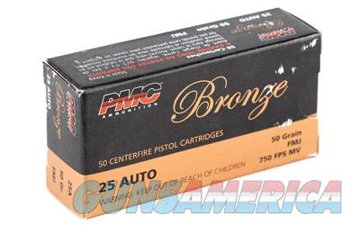 PMC Bronze, 25 ACP, 50 Grain, Full Metal Jacket, 50 Round Box 25A  Non-Guns > Ammunition