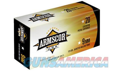 Armscor 9MM  124 Grain  Jacketed Hollow Point  20 Round Box AC9-7N - $9 Flat Rate Shipping on ANY Size Order  Non-Guns > Ammunition