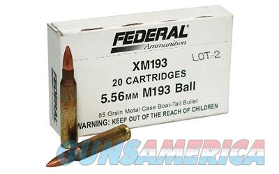 Federal XM193, 556NATO, 55 Grain, Full Metal Jacket, 20 Round Box XM193  Non-Guns > Ammunition