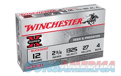"Winchester Super-X  12 Gauge  2.75""  4 Buck  Buckshot  27 Pellets 5 Round Box XB124 - $9 Flat Rate Shipping on ANY Size Order  Non-Guns > Ammunition"