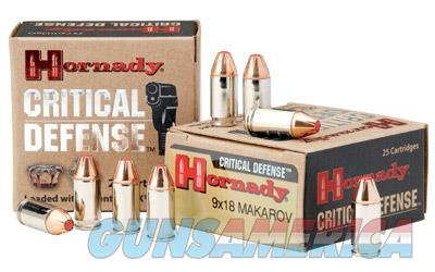 Hornady Critical Defense, 9MM Makarov, 90 Grain, FTX, 25 Round Box 91000  Non-Guns > Ammunition