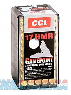 CCI/Speer Gamepoint  17HMR  20 Grain  Jacketed Soft Point  50 Round Box 52 - $9 Flat Rate Shipping on ANY Size Order  Non-Guns > Ammunition