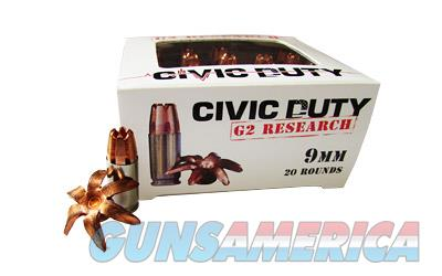 G2 Research Civic Duty, 9MM, 100 Grain, Lead Free Copper, 20 Round Box 06025  Non-Guns > Ammunition