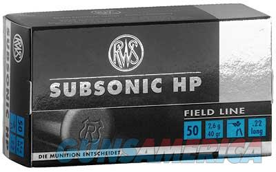 RWS/Umarex 22LR, 40 Grain, Hollow Point, Subsonic, 50 Round Box 2132664  Non-Guns > Ammunition
