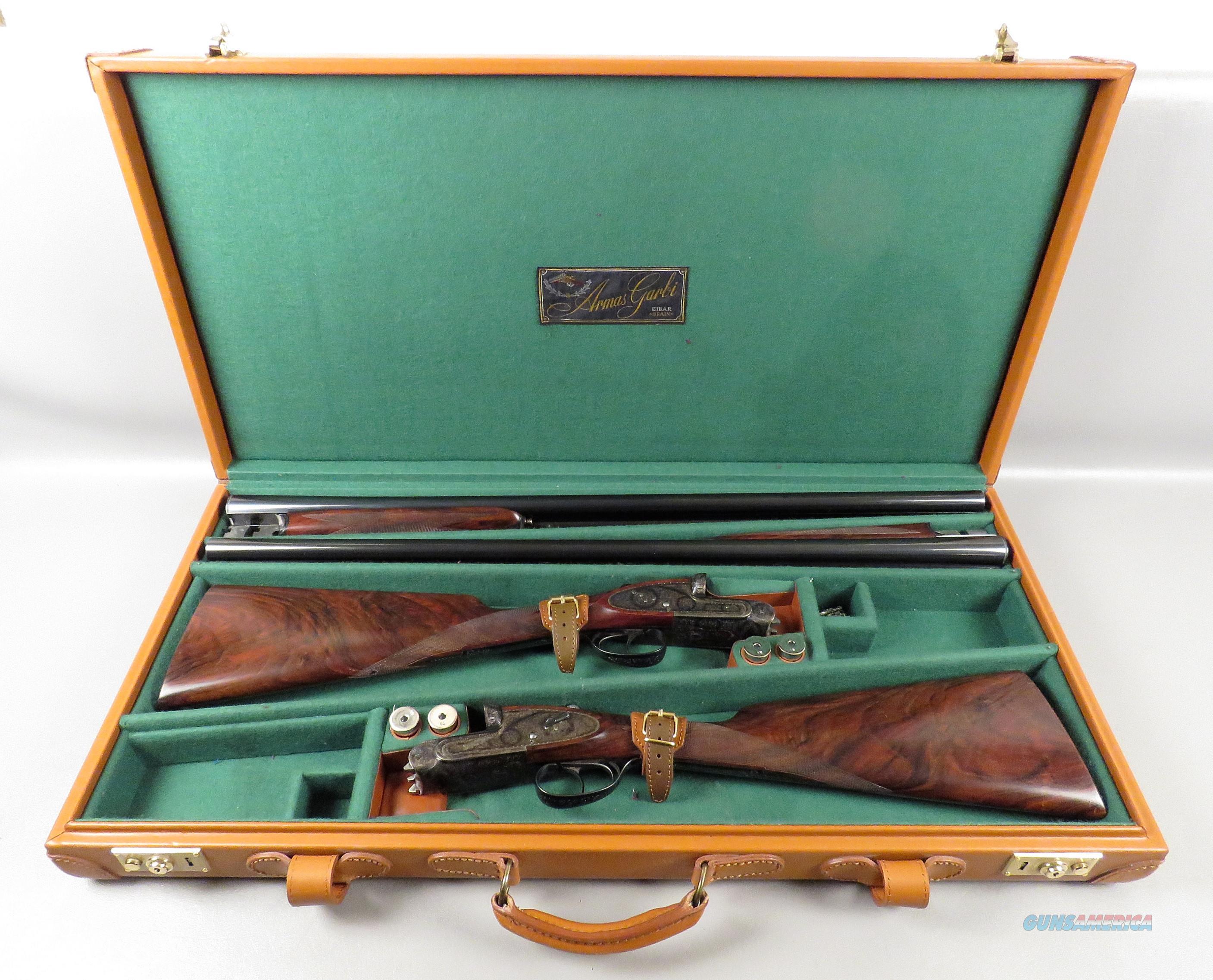 MATCHED PAIR OF GARBI 12 Ga SHOTGUNS in Leather Case  Guns > Shotguns > Garbi Shotguns