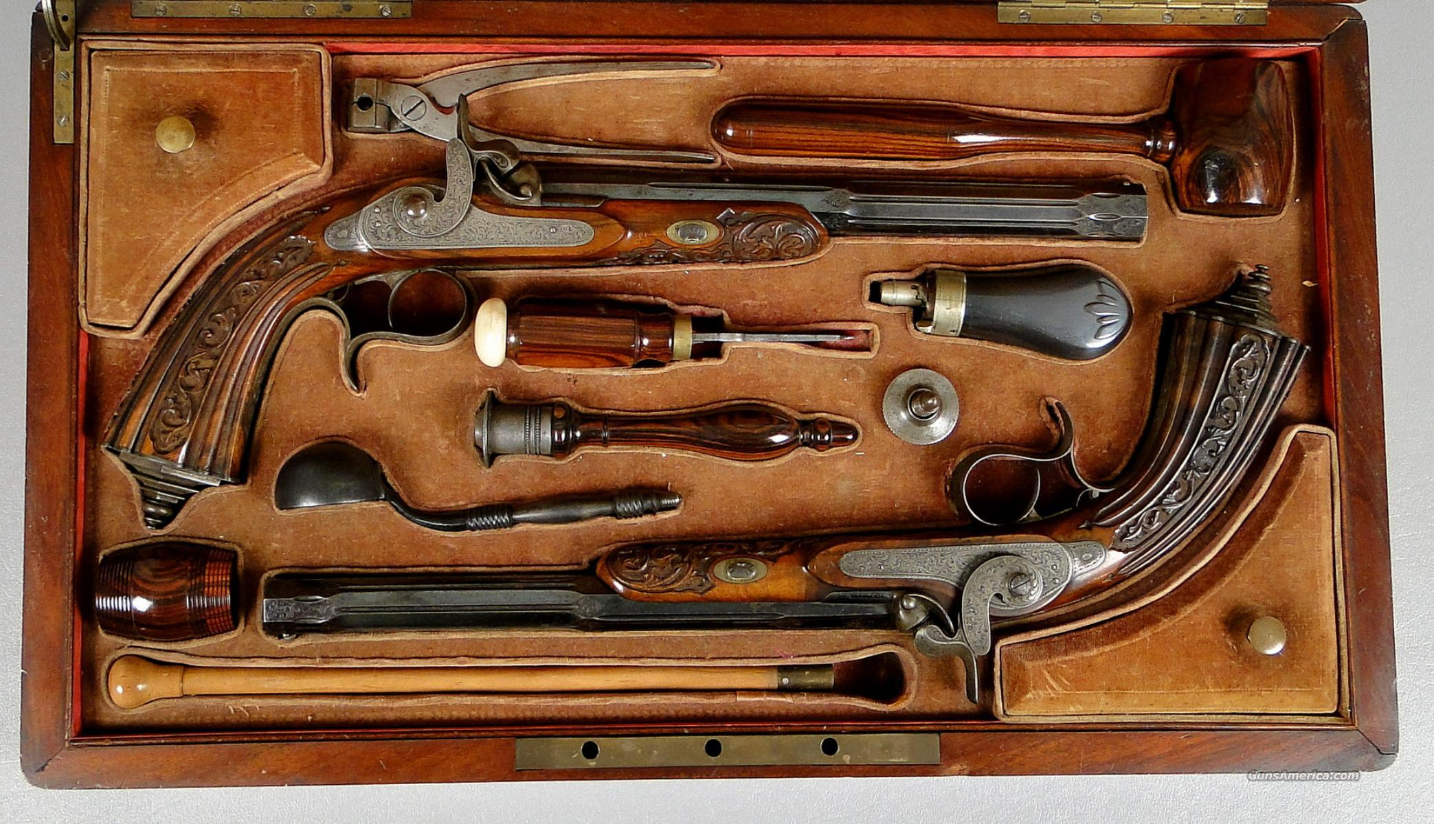 Antique Cased Set of L. Ghaye Belgian - French Percussion Dueling Pistols   Guns > Pistols > Muzzleloading Pre-1899 Pistols (perc)