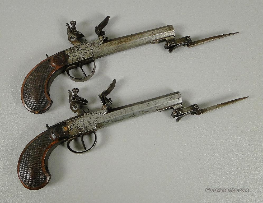 Matched Pair of Belgian Flintlock 52 Caliber Pistols with Folding Bayonets  Guns > Pistols > Antique (Pre-1899) Pistols - Perc. Misc.
