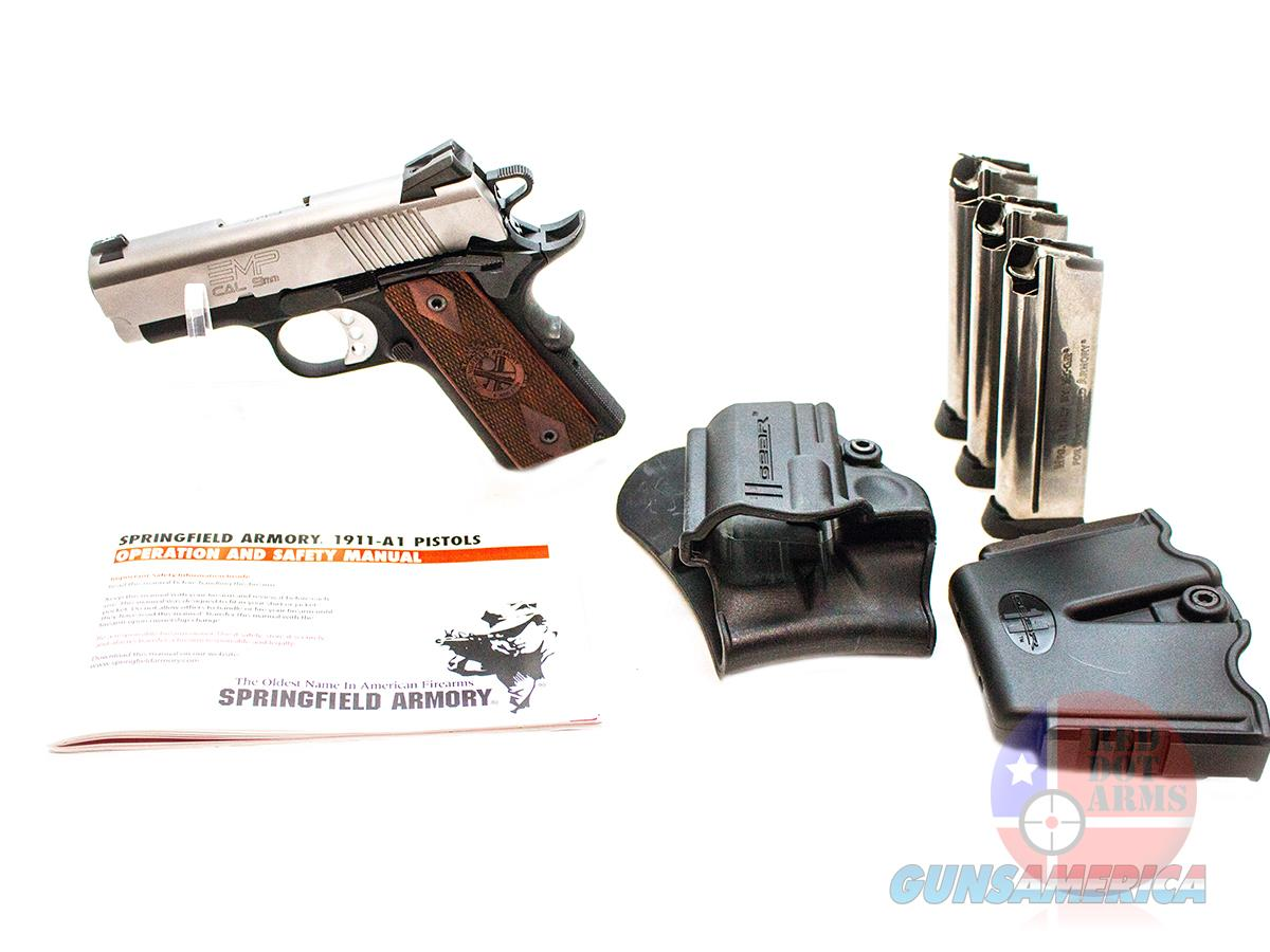 """Unfired Springfield EMP 9mm 3"""", Satin Stainless/Black, Holsters, Double Mag Pouch, Hard Case  Guns > Pistols > Springfield Armory Pistols > 1911 Type"""