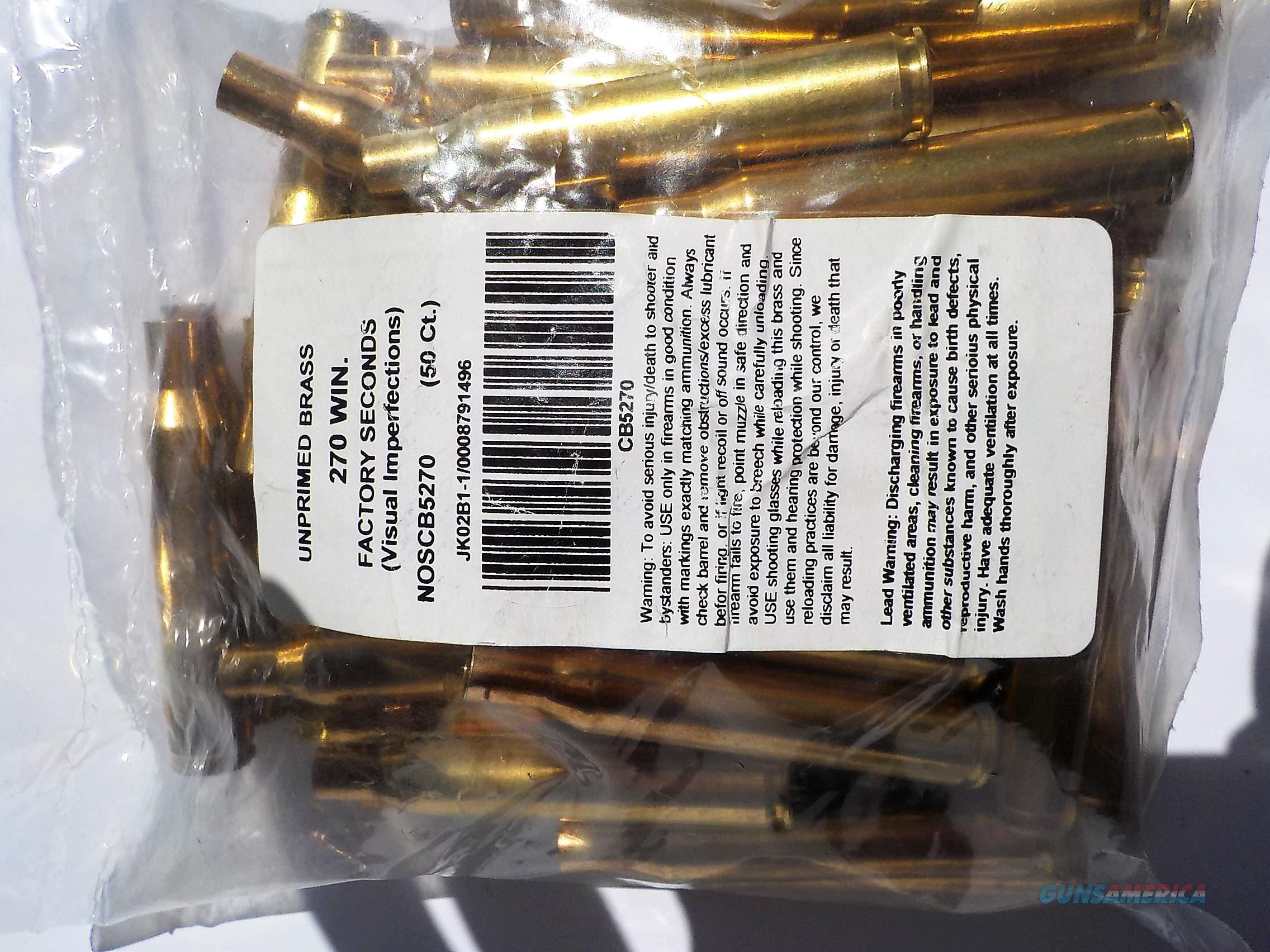 270 Winchester Norma blemished brass 50 cases  Non-Guns > Reloading > Components > Brass